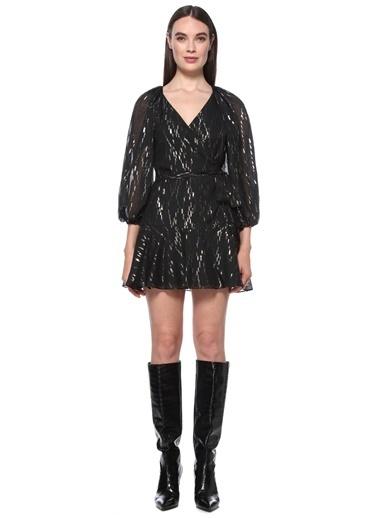 NetWork Kadın 1076387 V Yaka Kuşaklı Mini Anvelop Elbise Siyah